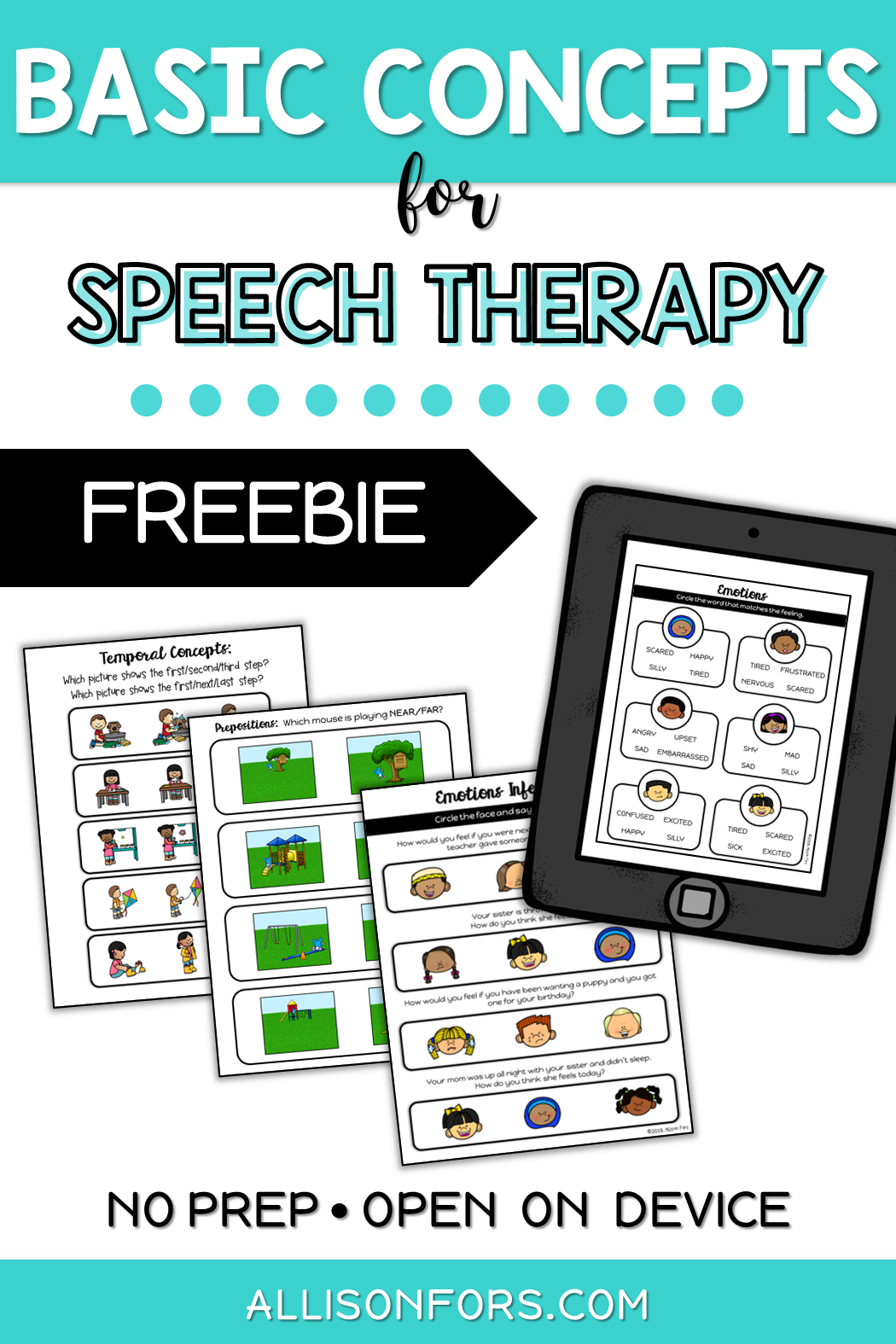 Basic Concepts Speech Therapy Free Sampler In