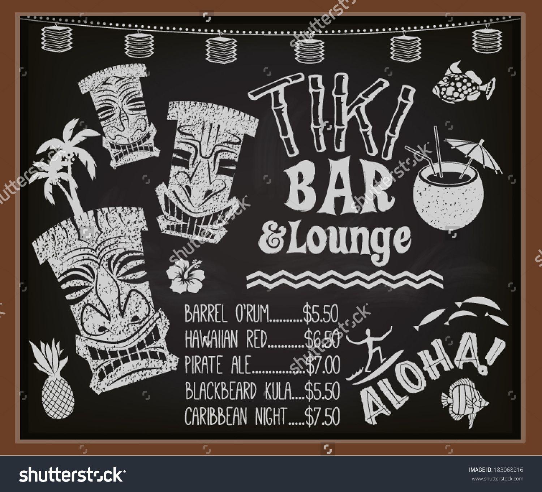 Tiki Bar And Lounge Chalkboard Cocktail Menu
