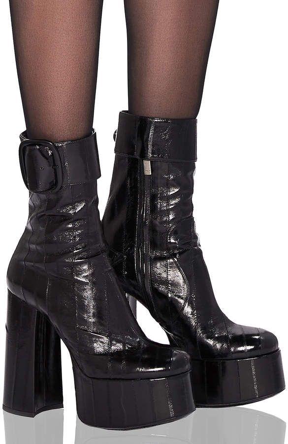 94ae2d9b110c Saint Laurent Eel Leather Billy Platform Buckle Ankle Boots