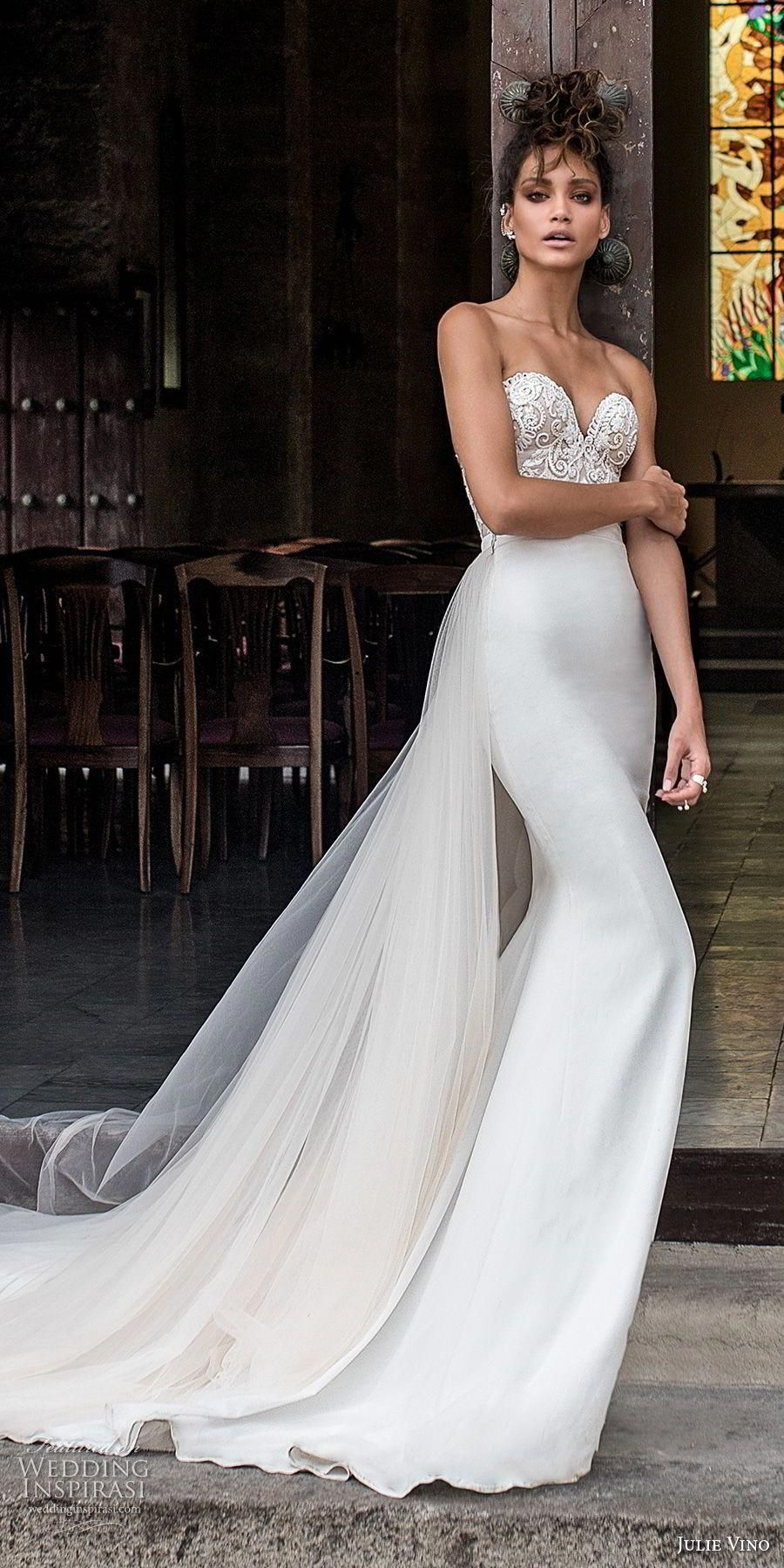 1c6d4b55b687 julie vino fall 2018 havana strapless sweetheart neckline heavily  embellished elegant sheath wedding dress chapel train