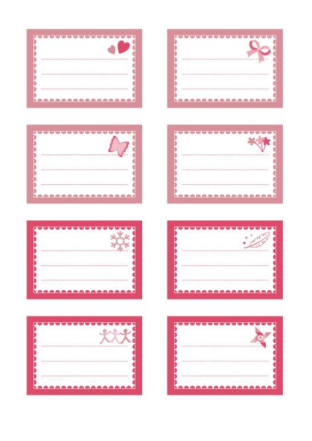 Moderne Planche d'étiquettes gratuites : modèle tendre rose | Etiquettes MW-72