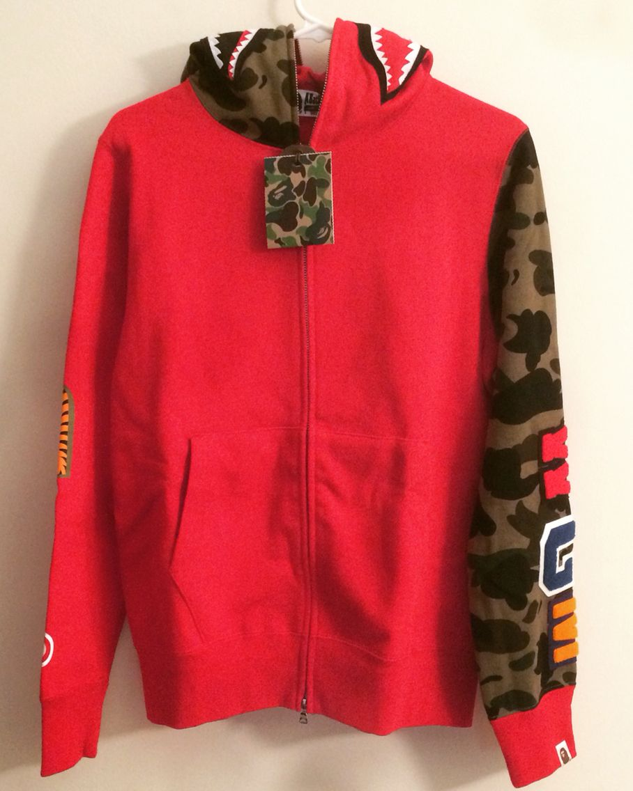 New with tag  bape red sleeve camo zip up shark hoodie medium. DM to ... 860aae49146a