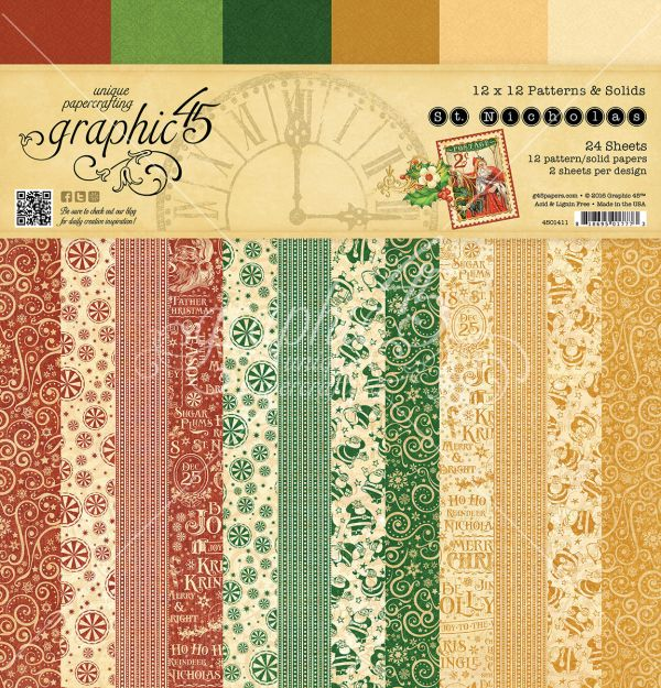 St Nicholas 12x12 Patterns & Solids Paper Pad in stores in mid August 2016 #graphic45