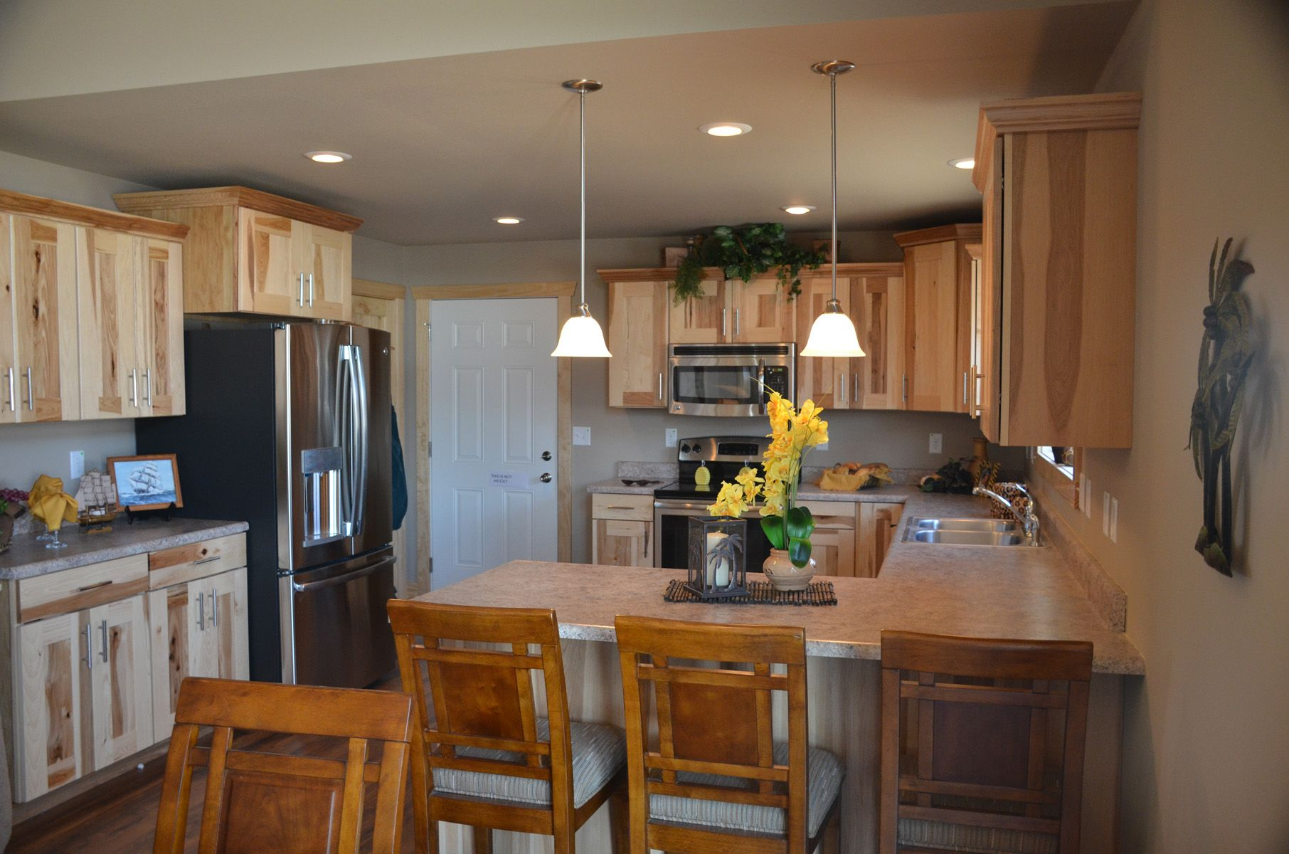 Rustic Hickory Jacobson Cabinets In Natural Seagull Lighting Satin Nickel Modular Home Floor Plans Open Concept Kitchen Custom Modular Homes
