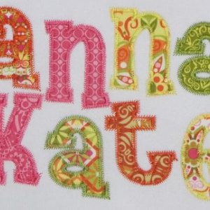 Anna Kate Applique Cute girls font embroidery monograms