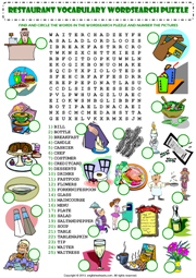 at the restaurant wordsearch puzzle vocabulary worksheet icon