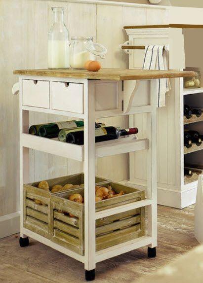 Details zu Küchenwagen massiv Holz weiß Servierwagen Weinregal ...