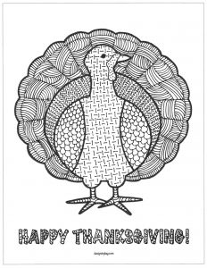 Happy Thanksgiving Turkey Mandala Thanksgiving Coloring Pages