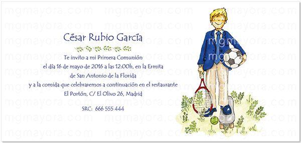 Invitacion De Comunion Nino Con Balon Y Tenis Invitaciones Comunion Comunion Tarjetas De Primera Comunion
