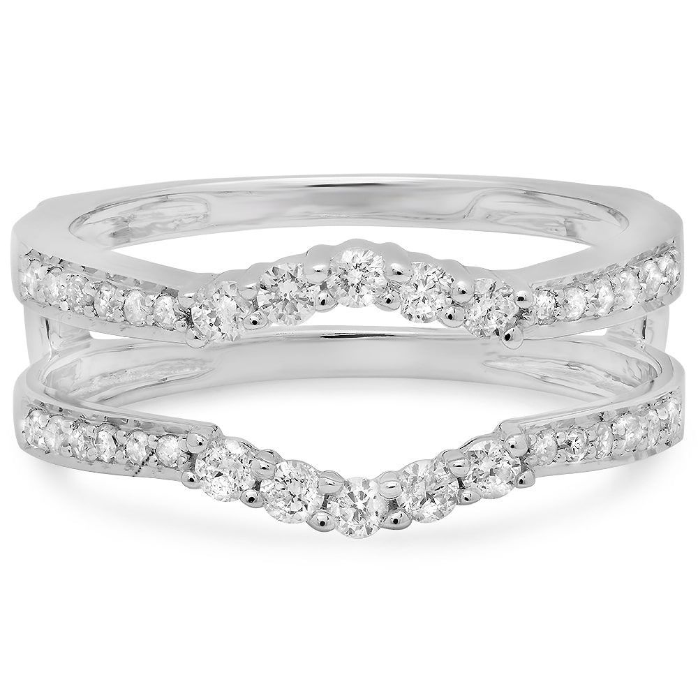 Elora 14k Gold 2/5ct TDW Diamond Wedding Enhancer Guard Double Ring