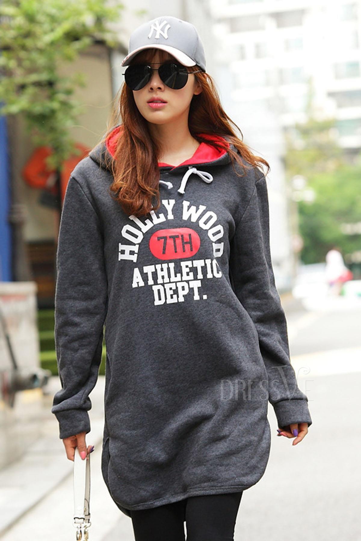 Dark Gray Thicken Velvet Plus Size Print Hoodie http://www.dressve.com/shop-11122026.html