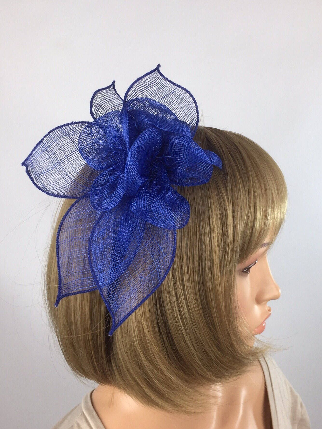 Sinamay Leaf and Feather Hair Beak Clip Brooch Corsage Bridal Fascinator Races