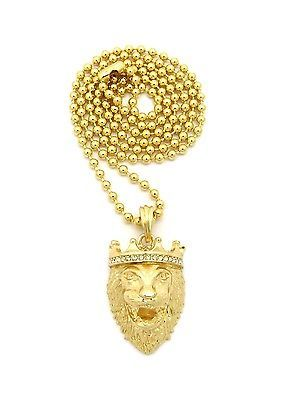 "New iced out king lion hip hop #pendant #&3mm/27"" ball #chain necklace mmp127,  View more on the LINK: 	http://www.zeppy.io/product/gb/2/281756765338/"