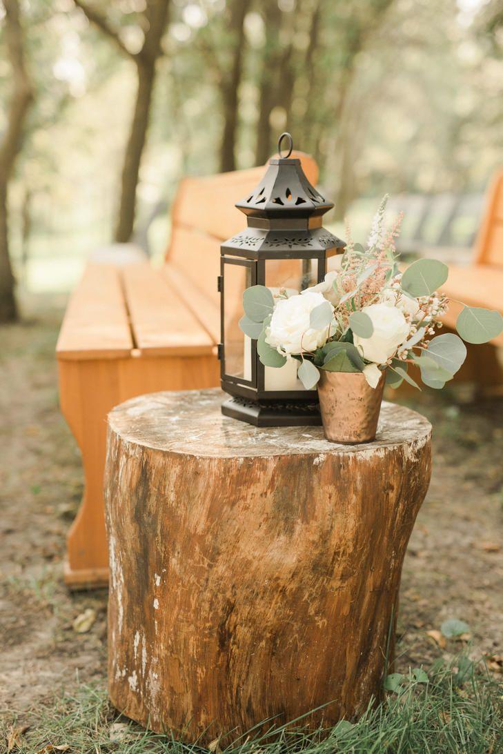 Lantern Decor On Wood Tree Stump Wedding Aisle Decorations