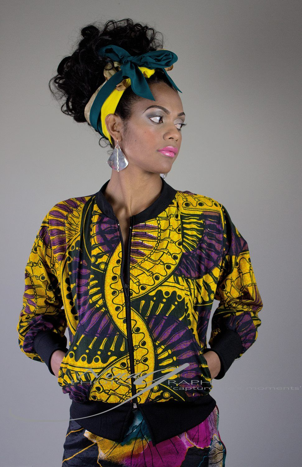 Africa on my sleeve bomber jacket African inspired