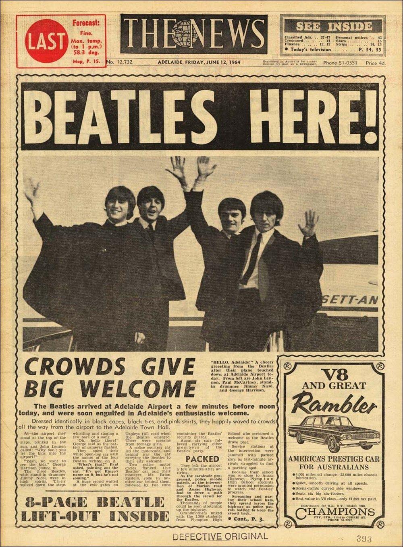 The Beatles The Adelaide News (Australia) June 12th 1964 Source  sou…