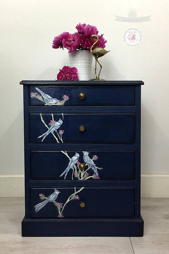 Napoleonic Blue side cabinet. Small chest of drawers. Storage ...