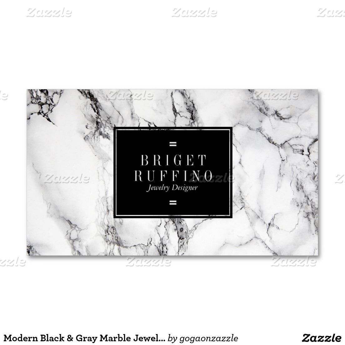 Modern Black & Grey Marble Jewellery Designer Business Card | Marble ...