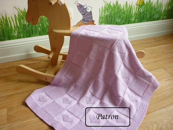 Couverture bébé patron / patron tricot / patron tricot bébé | Mantas ...