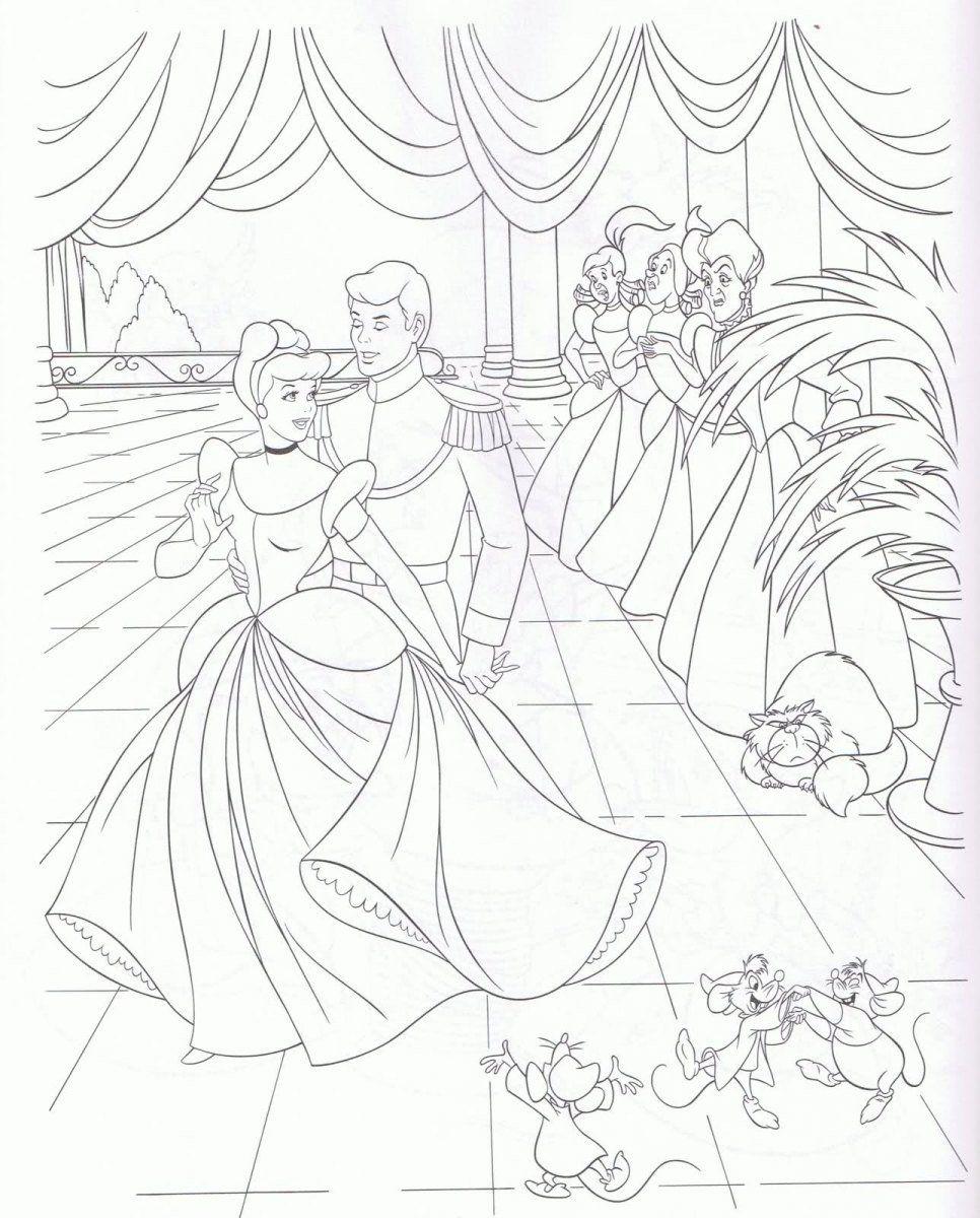 Dibujos para colorear de la Cenicienta   Dibujos en blanco y negro ...