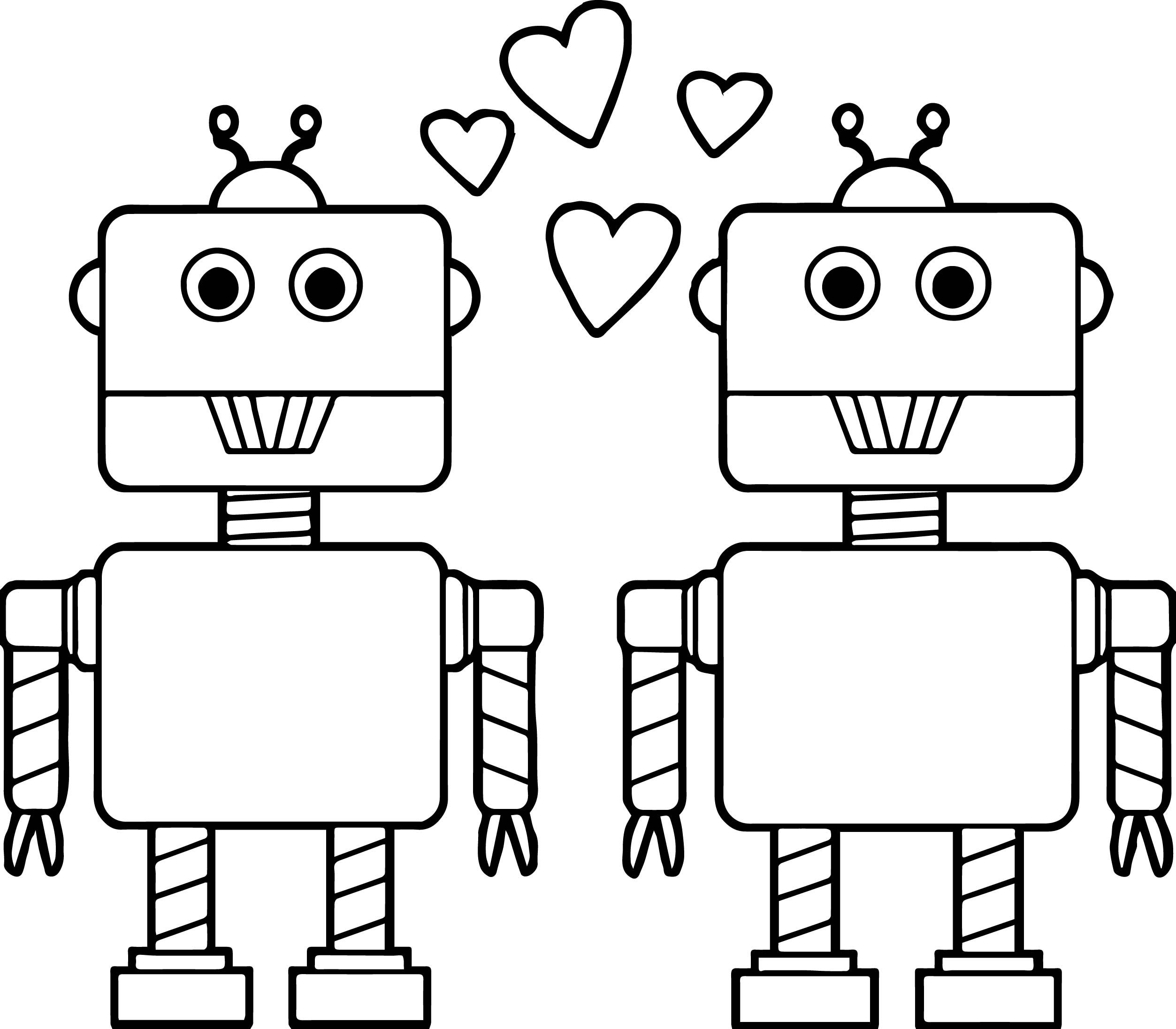 Awesome Couple Robot Coloring Page Valentines Day Coloring Page Valentine Coloring Pages Valentines Robots