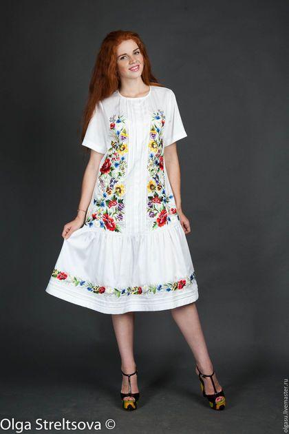 6c2ca2e84f5 Купить или заказать Белое вышитое платье сарафан  Цветочный хоровод  ручная  вышивка в интернет-