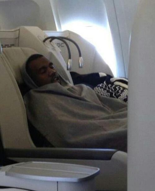 Kanye West taking a nap:
