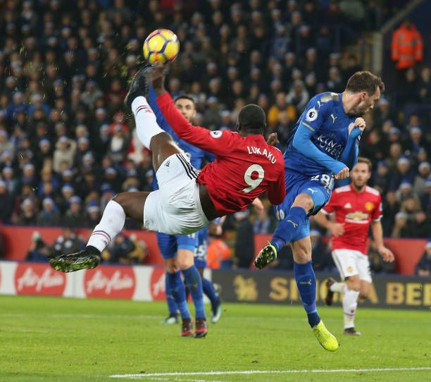 Romelu Lukaku Of Manchester United In Action With