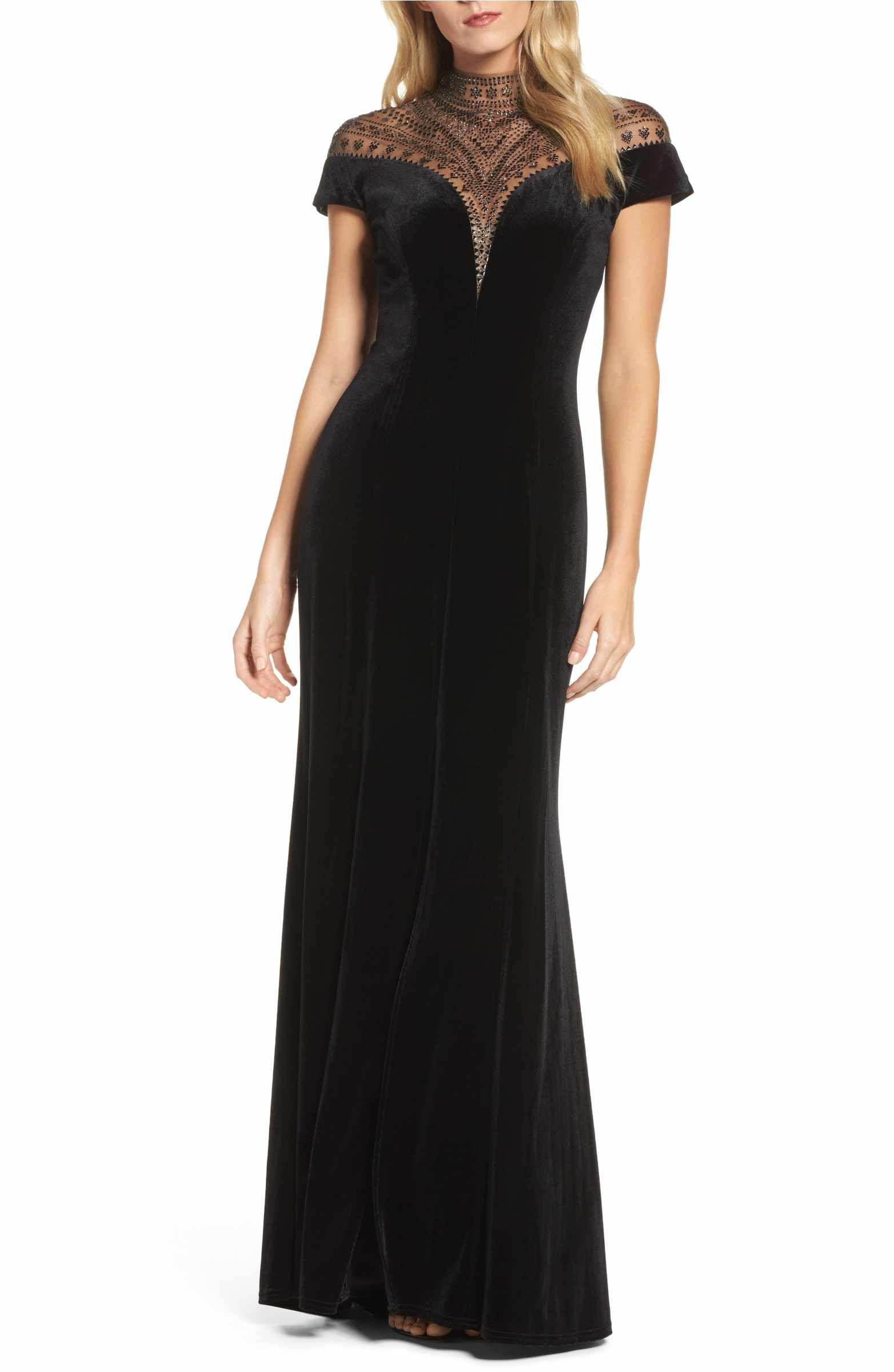Tadashi Shoji Embellished Deep V Neck Velvet Gown Nordstrom Velvet Gown Cap Sleeve Evening Gowns Formal Dresses For Women [ 2400 x 1564 Pixel ]