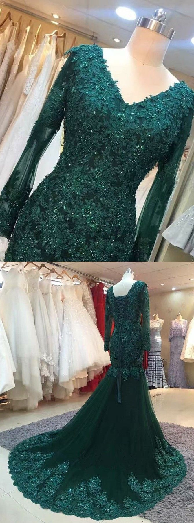 Mermaid vneck long sleeves green tulle prom dress with appliques