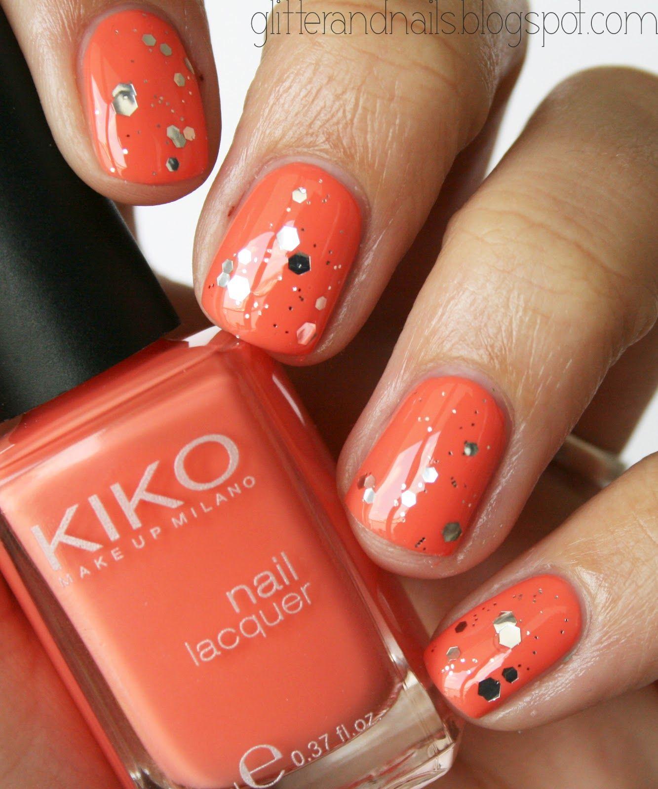Cute orange sparkling nails