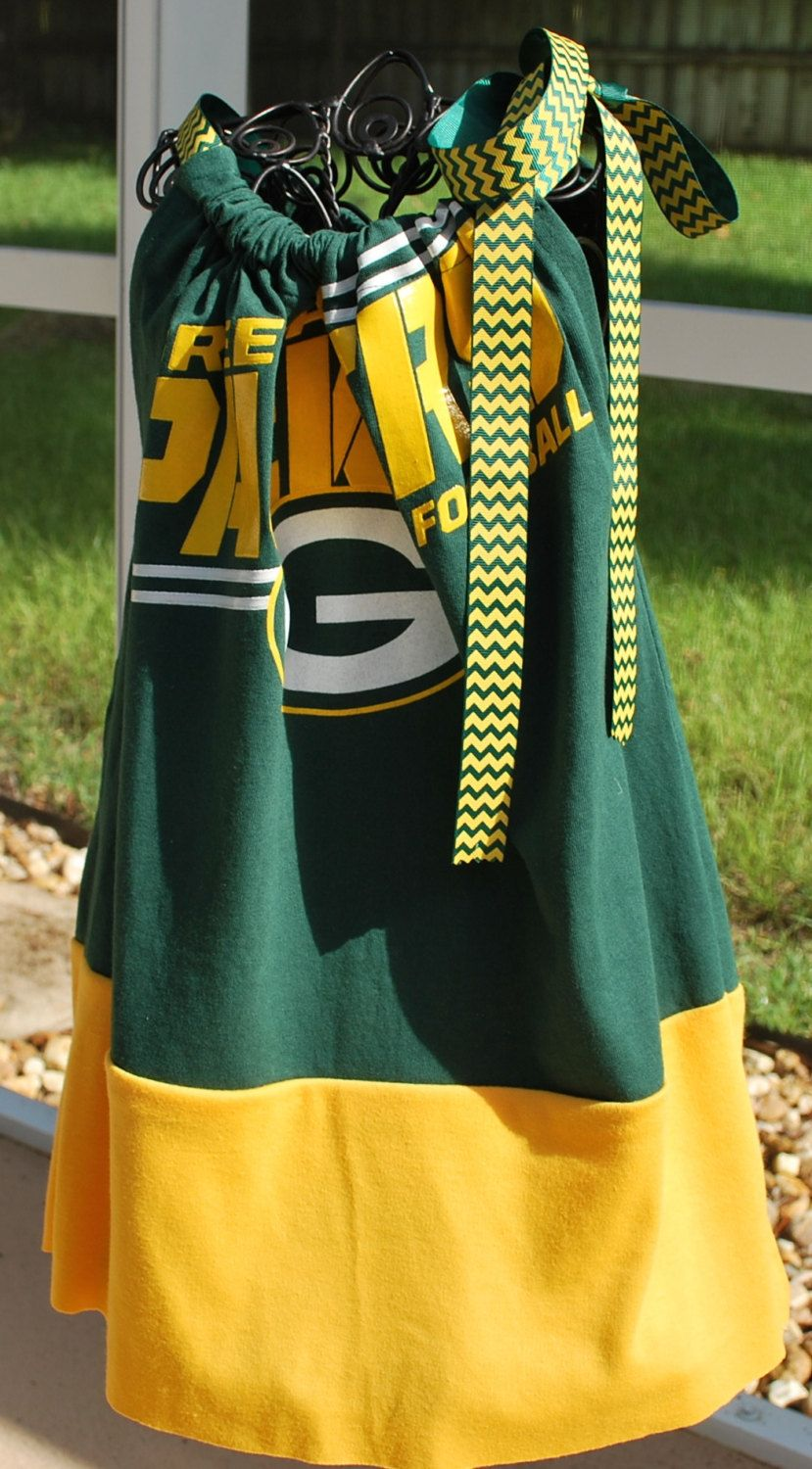 ace60855 Green Bay Packers Girls Kids Game Day Pillow Case Dress with Ribbon ...