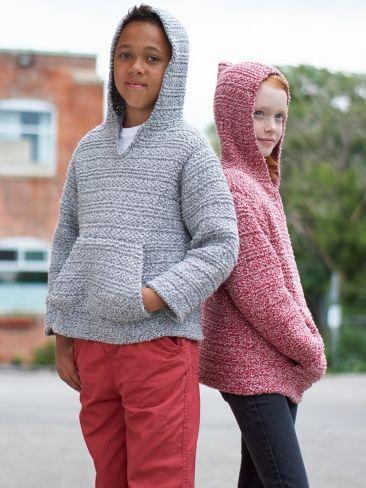 Textured Hoodie | Yarn | Free Knitting Patterns | Crochet Patterns | Yarnspirations