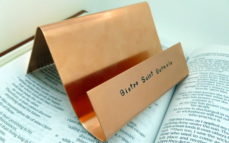 Hand stamped copper business card holder desk office decor hand stamped copper business card holder great gift idea for graduation or the professional in your life reheart Gallery
