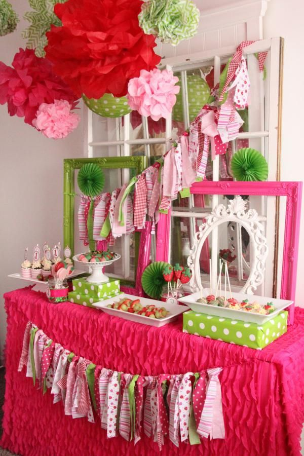 Pink Strawberry 4th Birthday Party Karas Party Ideas The