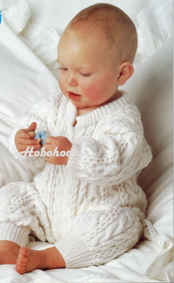 f94cfb037a6ff Baby all in one baby sleepsuit with zip romper suit aran rompers cable  pattern 18-20 inch DK Baby Knitting Pattern PDF instant download