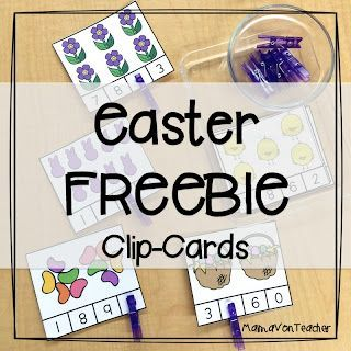 Great addition to your spring math centers! Clip-cards for numbers 1-10 MamaVonTeacher: Easter Math Center FREEBIE! #math #free #kindergarten #prek #iteachtoo #spring