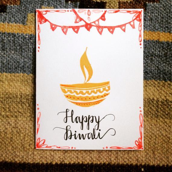 Set Of 3 Handmade Diwali Cards With Envelopes Diwali Cards Handmade Diwali Greeting Cards Diwali Greeting Cards