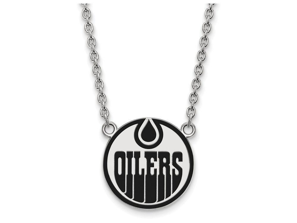 LogoArt Sterling Silver Edmonton Oilers Large Enamel Pendant Necklace