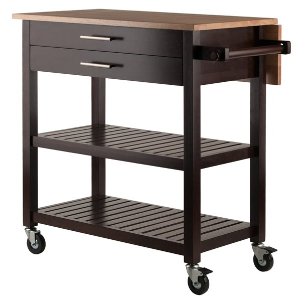 Winsome Wood Langdon 36 In X 34 In Cappuccino Wood Kitchen Cart