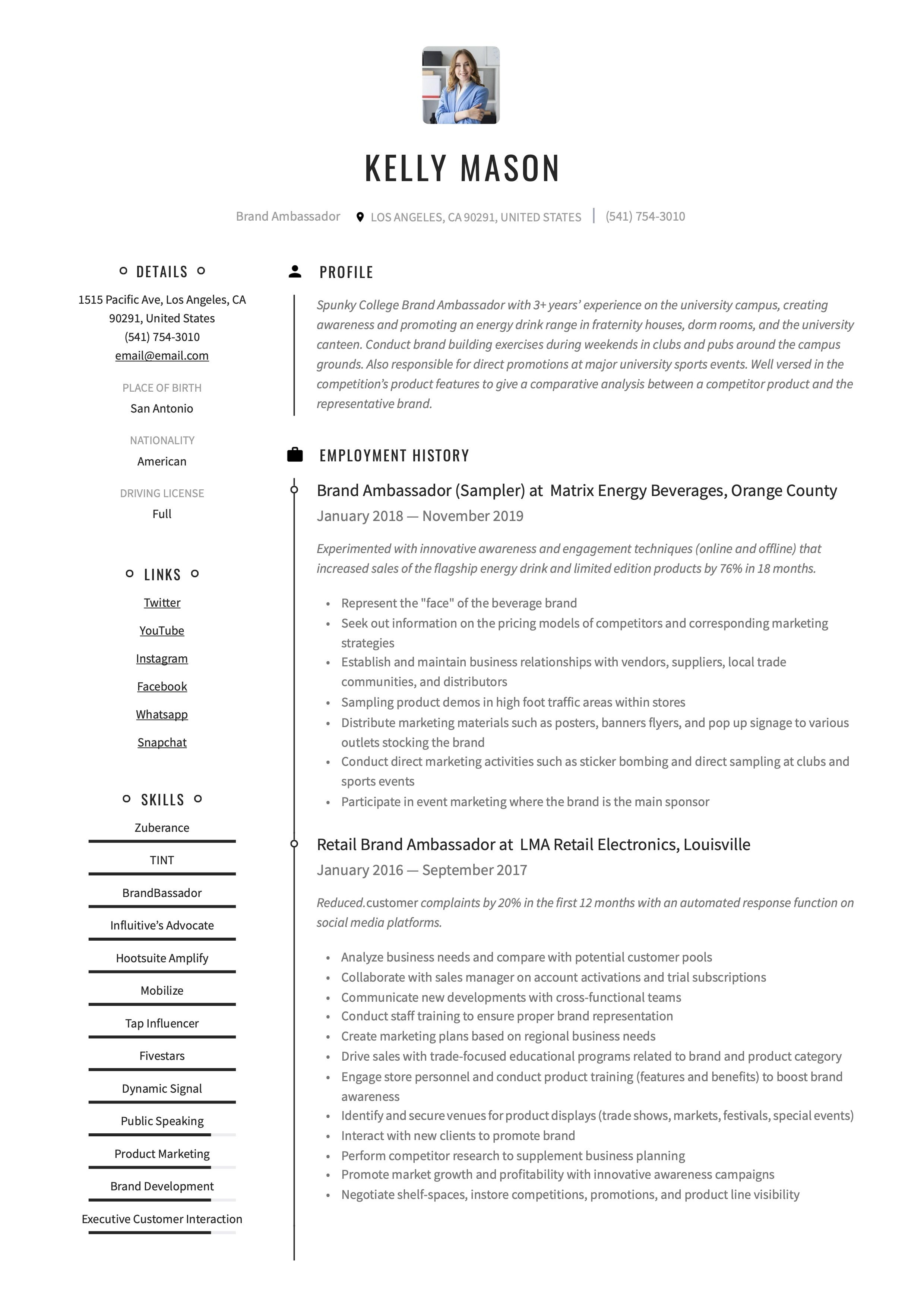 Professional Brand Ambassador Resume, template, design