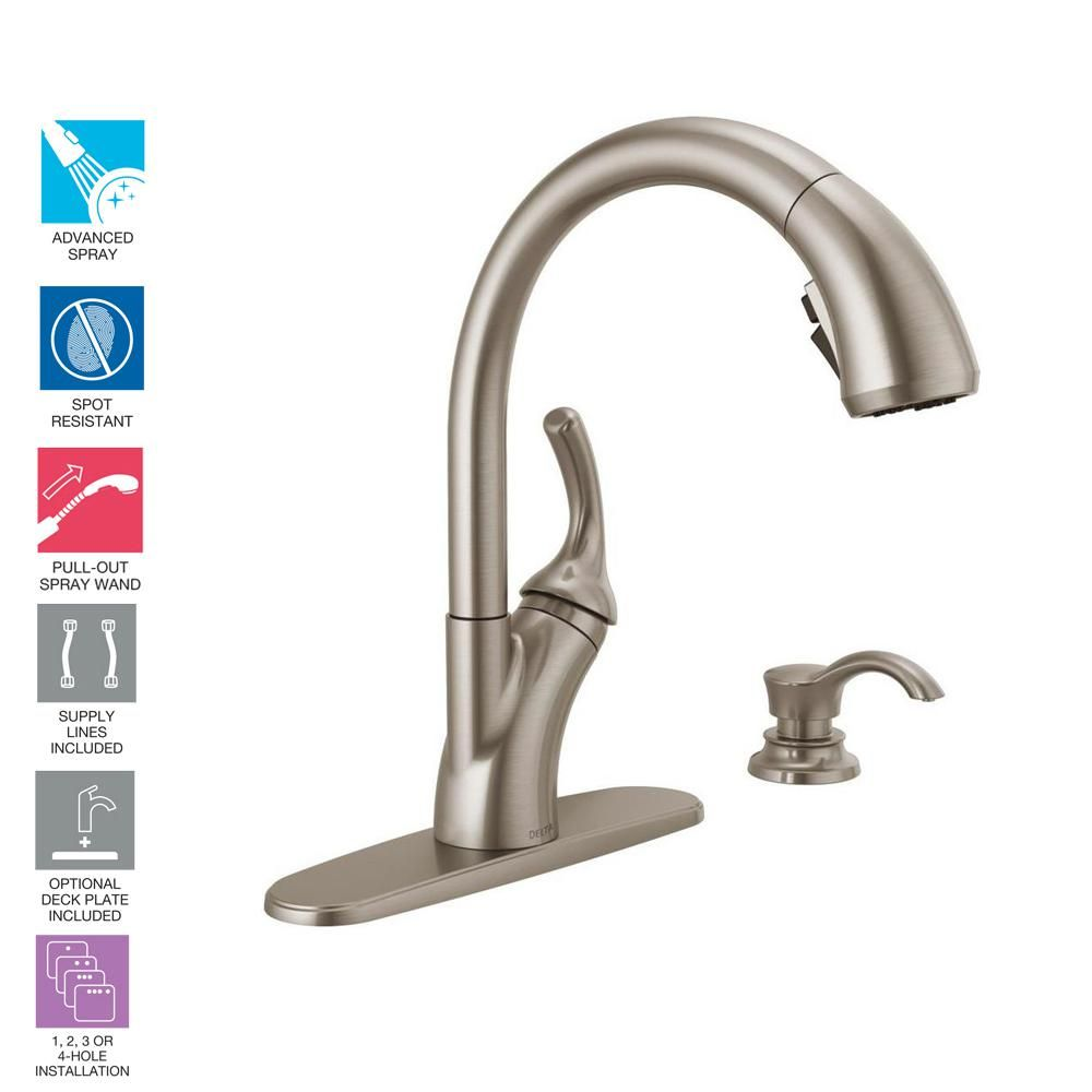 Delta Shiloh Single Handle Pull Out Sprayer Kitchen Faucet With
