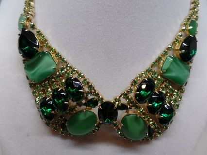 "Gorgeous Vintage Green Crystal Bib Necklace in Excellent Condition! 18"" Long. Circa 1960's. Ships Gift Boxed! Follow Us On Facebook(Vintage Addiction Jewelry) & Twitter@Vintage911 For Coupons & Announcements!"