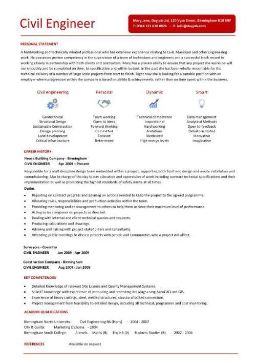 Civil Engineering Resume Templates Civil Engineer Resume  Template  Pinterest  Template