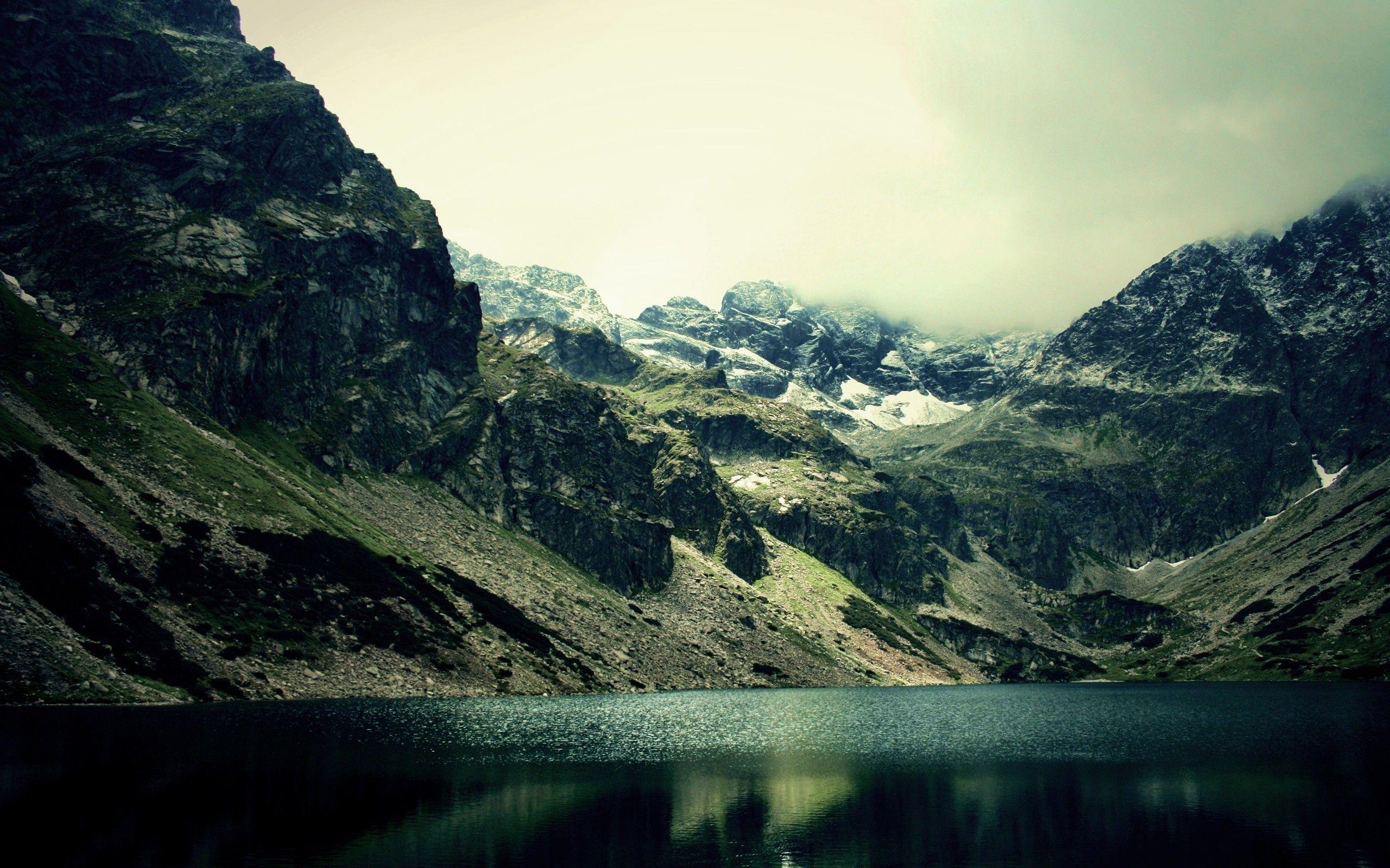 Dark Mountain Lake Nature Wallpaper 2560x1600 px Free ...