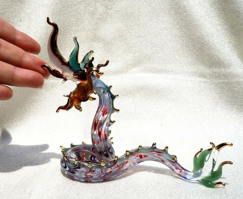 Clear glass Seahorse with gold trim Blown Glass Figurine