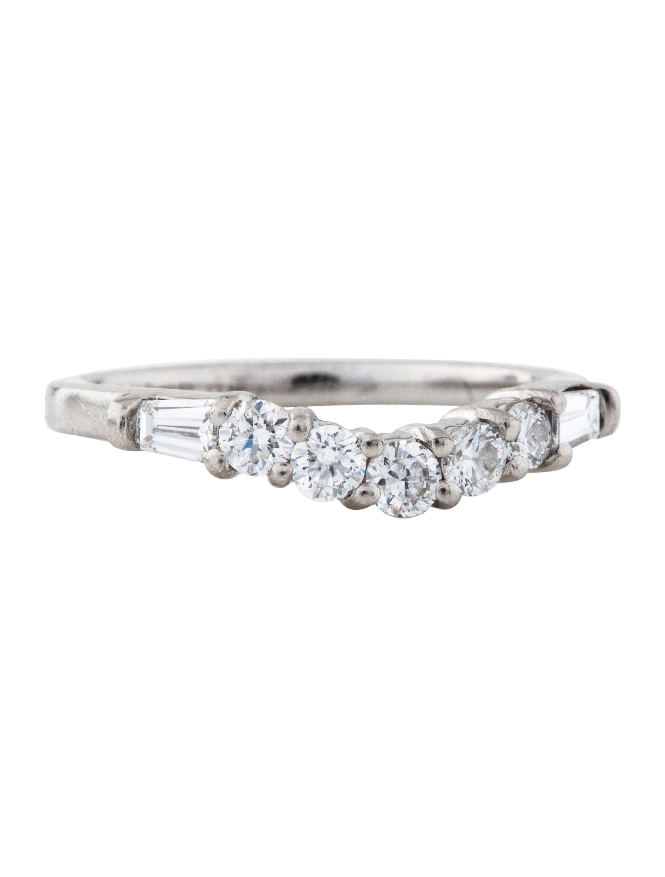 Platinum Diamond Curved Wedding Band Moissanite wedding