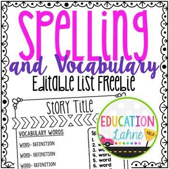 Editable Spelling \ Vocabulary List Templateu003cu003cu003c-----Use this - classroom list template