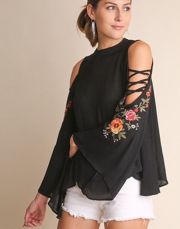 daf94dbc10fc2c Flower Girl Embroidered Open Sleeve High Neck Key Hole Back Top Blouse  Black S M L