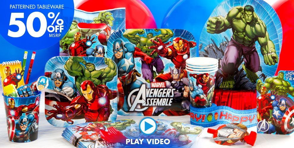 Avengers Party Supplies – click to watch video | Boys Birthday Ideas ...